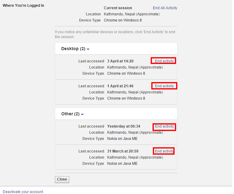 Logout Facebook Account From Other Device