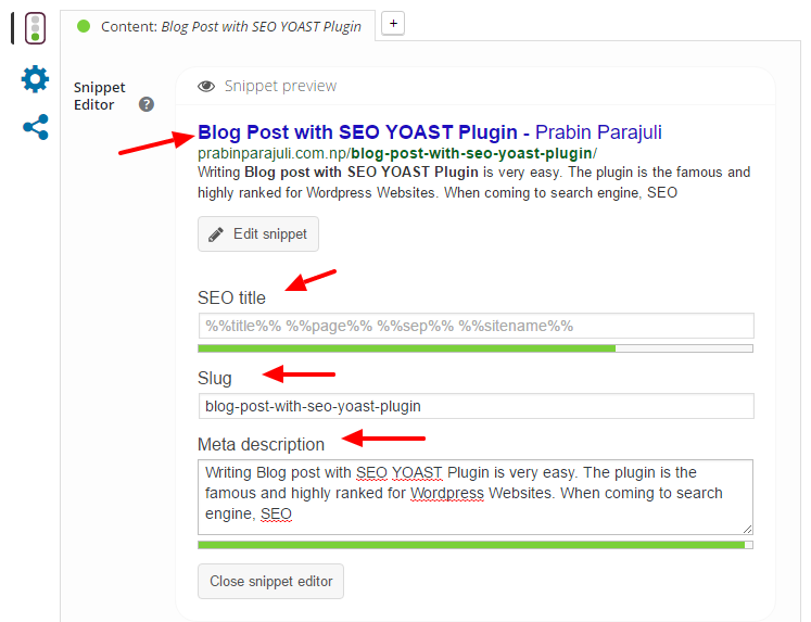 Blog Post with SEO YOAST Plugin