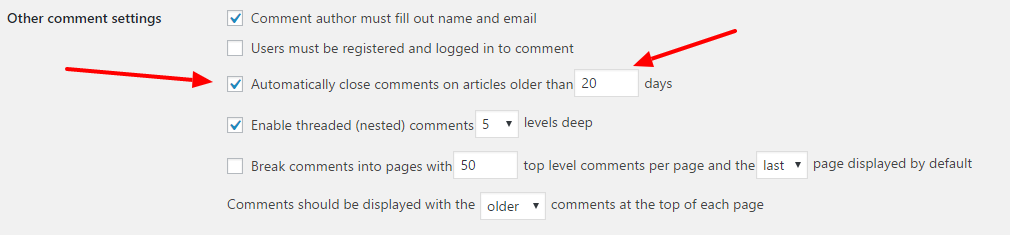 Disable Comments in Pages or Posts